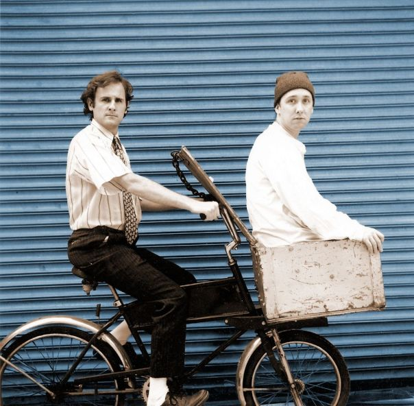 Chris Kauffman (in the basket), here with his CABARET TERRARIUM partner Rich Harrington.  Pic by Josh Carter.