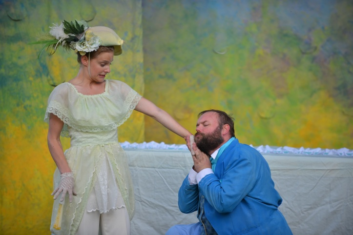 Mistress Page (Katie Ryerson) gets some unwanted attention from Falstaff (Matthew John Lundvall).  Pic by Andrew Alexander.