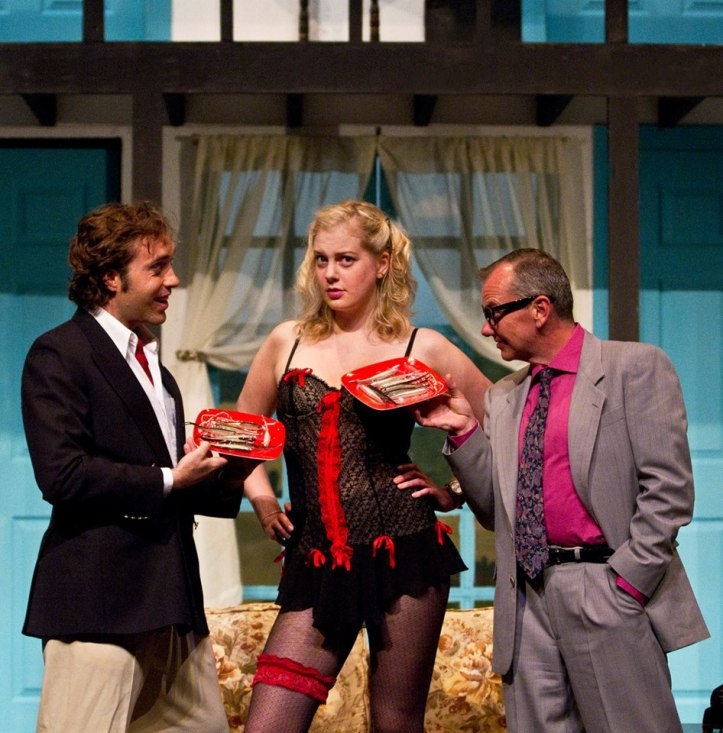 Josh Sparks, Dana Truelove and Shaun Toohey in NOISES OFF.  Pic by Maria Vartanova.