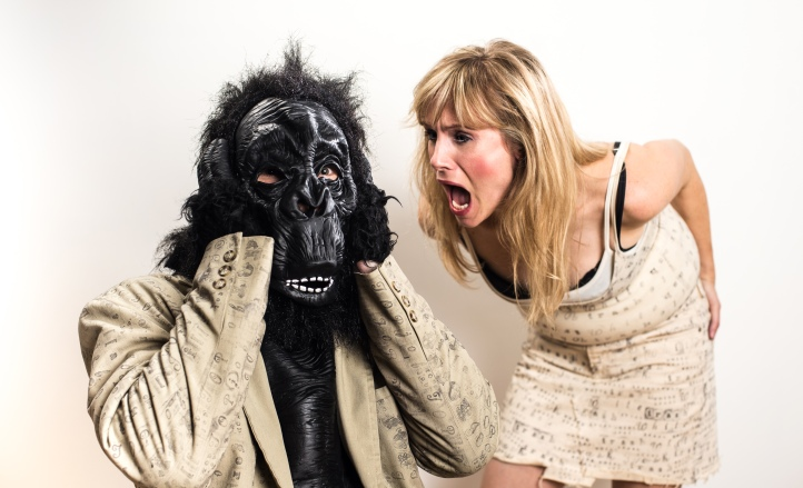 From the way Colleen Sutton is looking at him, that Gorilla must be an Eskimos fan.  Check out the whole story (and stories) at the EXTREMELY SHORT NEW PLAY FESTIVAL, on now!  Photo: Andrew Alexander.