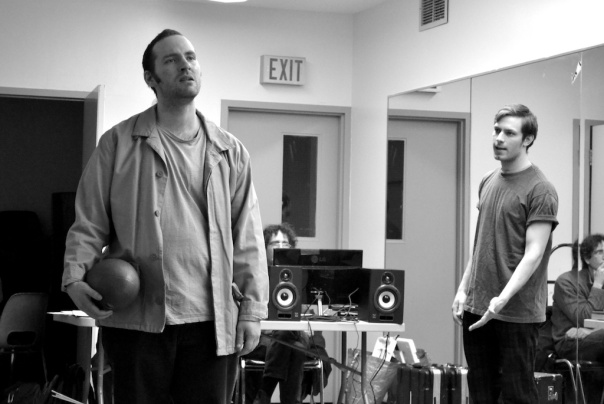 Leslie Cserepy (Biff) and Cory Thibert (Happy), in rehearsal.  Pic by Jen Vawer.
