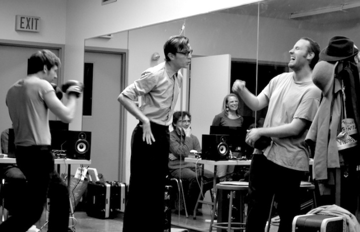 Happy, Bernard and Biff  (Cory, Matt and Leslie) in rehearsal for Death of a Salesman.  Photo by Jen Vawer.
