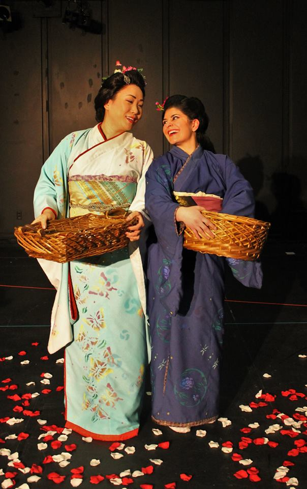 Throwing flowers makes EVERYTHING bearable.  Shuying Li and Armine Kassabian in MADAMA BUTTERFLY (Pic by Katrhyn Reeves)